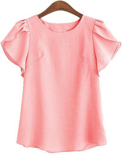 Camiseta de manga de volante -rosa