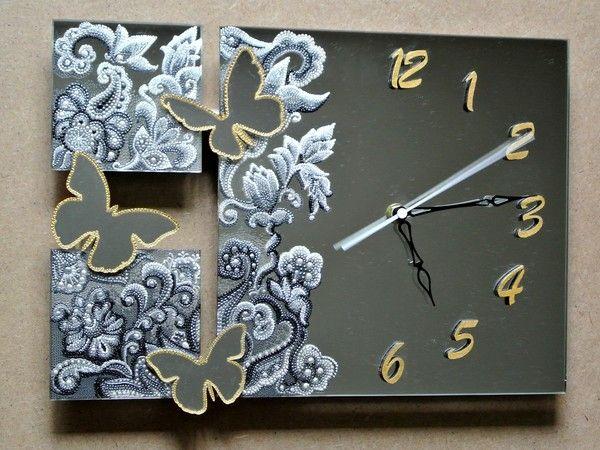 """Фото Зеркальные часы """"Ночные бабочки"""", мои работы, — Фото@Mail.Ru"""