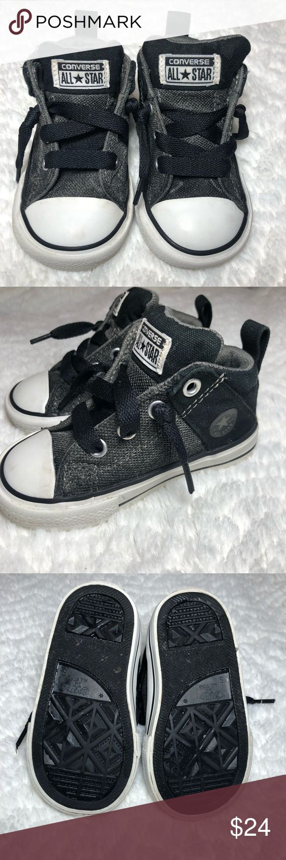 Converse All Stars Gray & Black High Tops Excellent condition Converse • no signs of wear Converse Shoes Sneakers