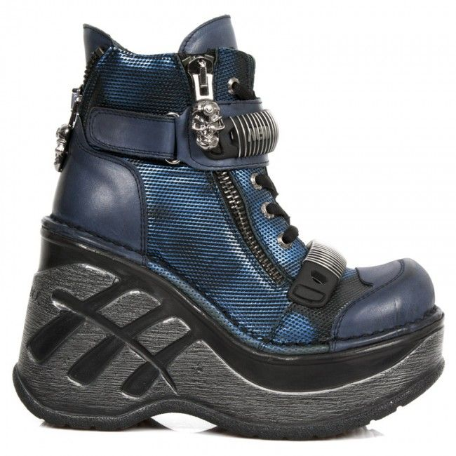 M.SP0002-S2 New Rock Blue Leather Neo Cuna Sport Ankle Boots