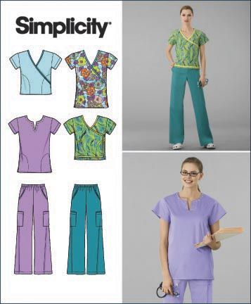 Simplicity 2871 Misses Scrub Tops and Pants