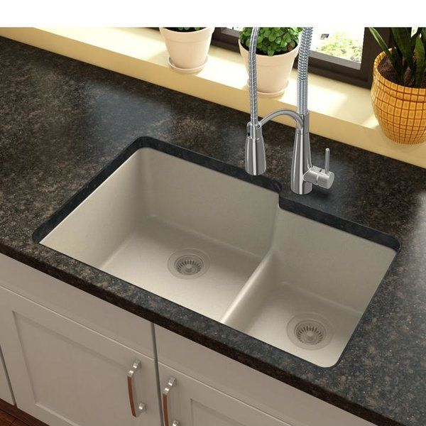 Quartz Classic 33 L X 21 W Double Basin Undermount Kitchen Sink