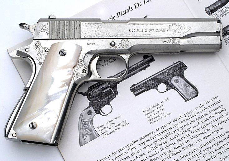 Colt .38 Super Factory Engraved with Nickel Finish and Pearl Stocks
