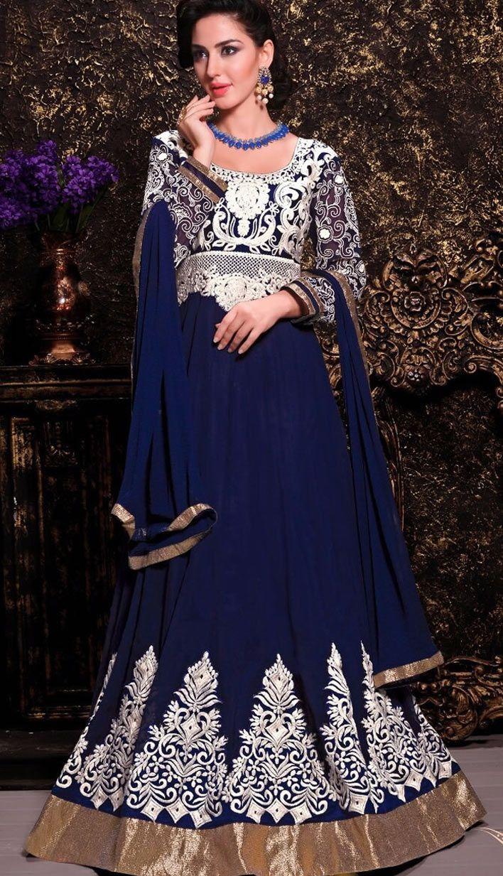 Beautiful Latest Blue Georgette Anarkali Suit, Dress