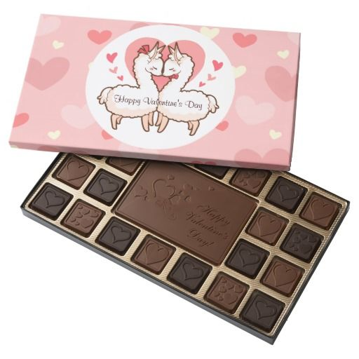 Cute Love Llamas 45 Piece Assorted Chocolate Box! Chocolate is the best Valentine's Day gift and this chocolate box is definitely the cutest one I've ever seen! A perfect gift!