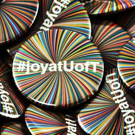 A great button design and a cool twitter campaign. Good use of buttons at the University of Toronto.......Joy!