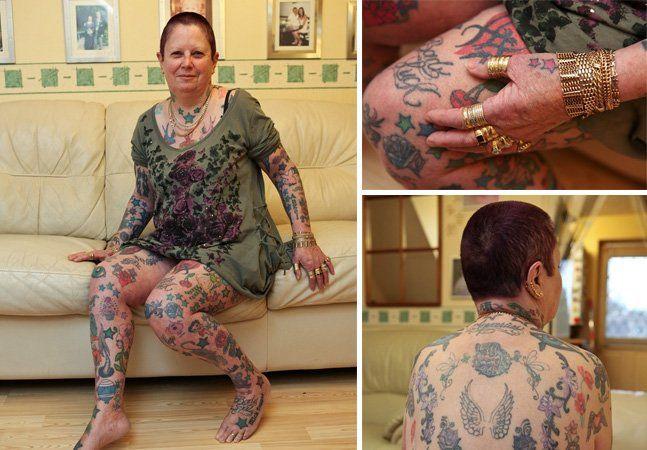 A vovó Sheila Jones tem 64 anos e resolveu fazer algo inusitado pra idade: tatuar seu corpo todo. Fazendo uma tattoo por semana, já acumula 268 desenhos na pele, número pouco comum para uma avó. Segundo reportagem doDaily Mail, a primeira marca veio no colegial, quando ela mesma tatuou o nome de um garoto em seu braço com tinta nanquim e agulha de costura, no típico processo não-faça-você-mesmo. Depois disso, já tinha seis tattoos feitas ao longo de 18 meses, se casou e formou uma família…