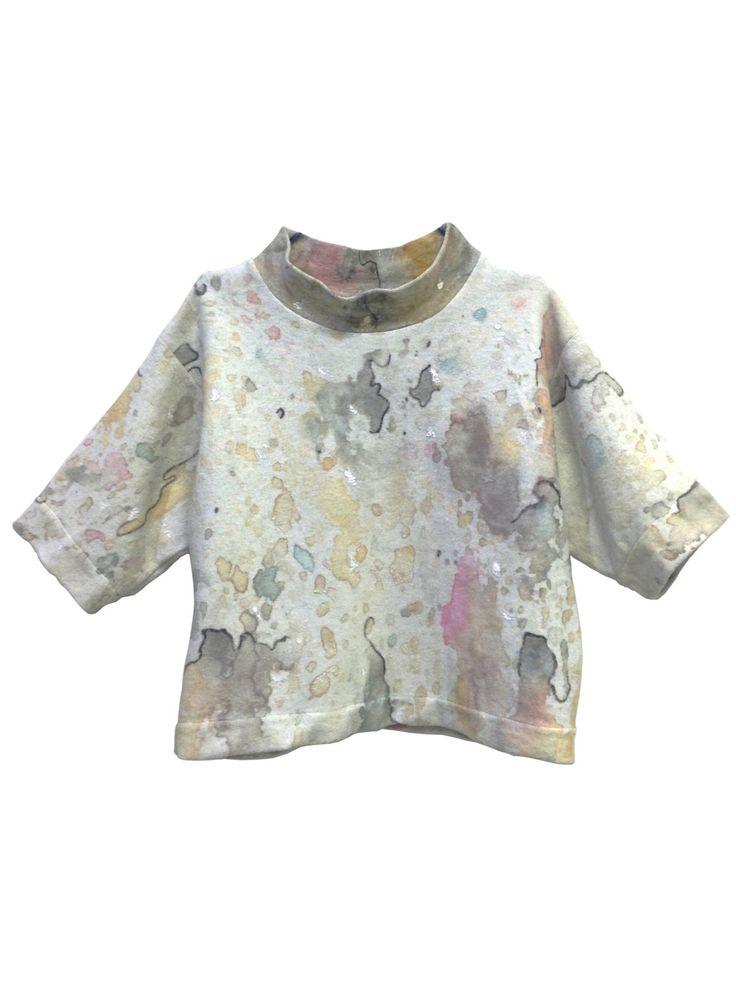 Sweatshirt Painted Watercolor Monotype Style Lola Darling ARTWORK DRESS by A. LUGLI, Cotton Gray, Exclusive Luxury Spring Handmade in Italy di loladarlingirl su Etsy
