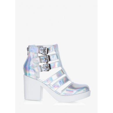 Sandały Fashion Fighter Silver Hologram Heeled Sandals