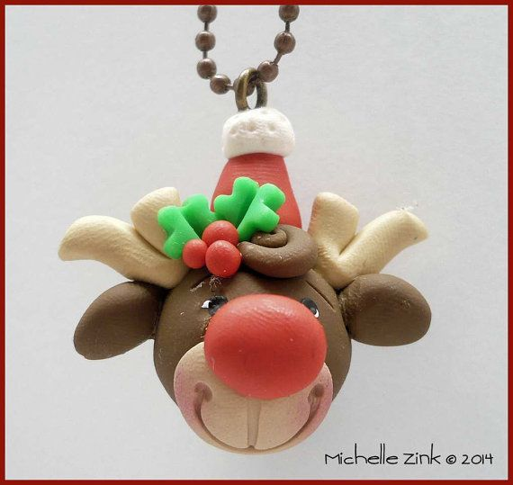 *POLYMER CLAY ~ Christmas Reindeer Charm Necklace