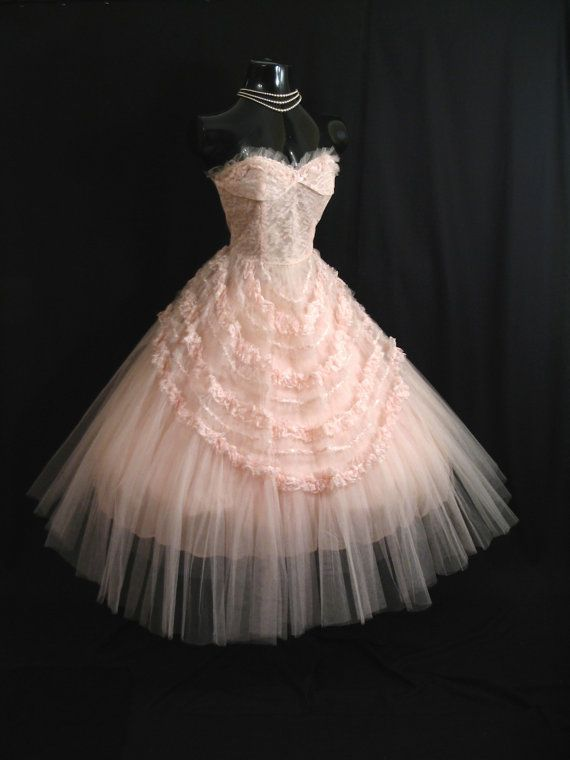 Vintage 50's  STRAPLESS Pink Tulle Lace Ribbon Party PROM Wedding DRESS Gown