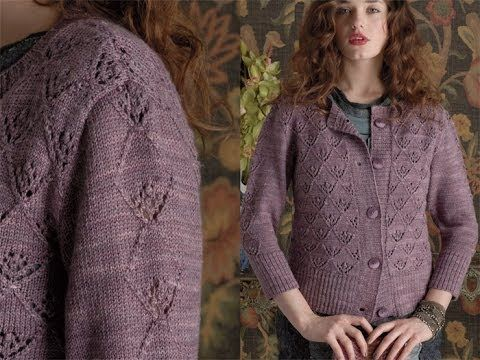 #19 Lace Pat Cardigan, Vogue Knitting Early Fall 2011 - YouTube