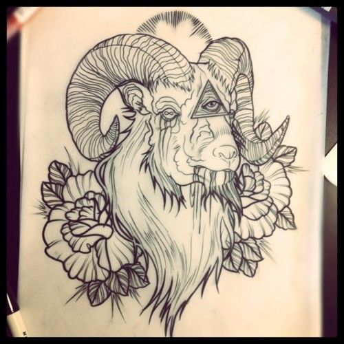 ram and all-seeing eye sketch by dave olteanu