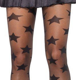 Dysfunctional Doll Black Star Print Tights by Leg Avenue : Tights