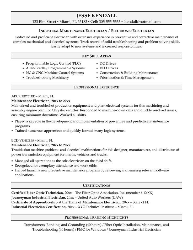 Sample Resume ElectricianSample Resumes Cover Letter Examples