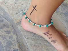 "Cross and ""let it be"" tattoo on ankle and foot"