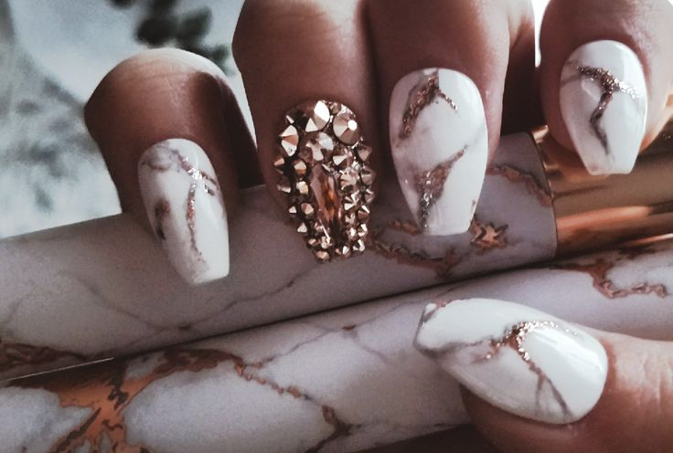 White and rose gold marble nails with swarovski crystals with my matching makeup brushes. @anastasiyabee