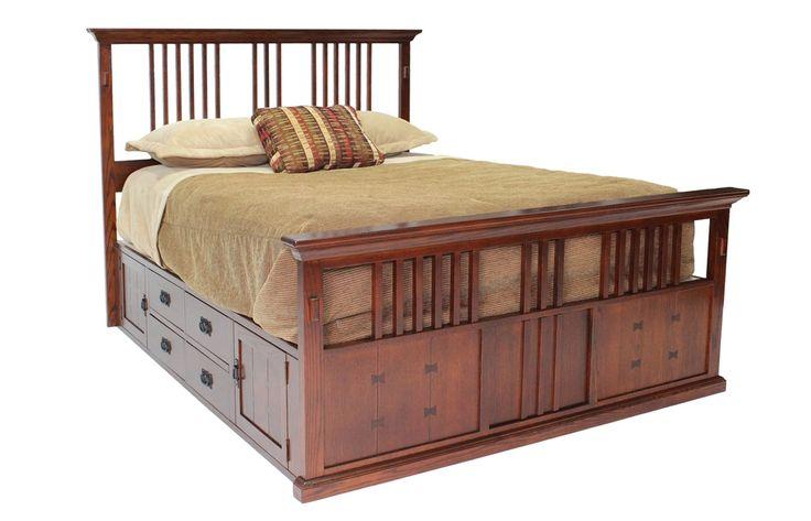 San mateo oak e king spindle captains bed beds bedroom for Bedroom furniture for less
