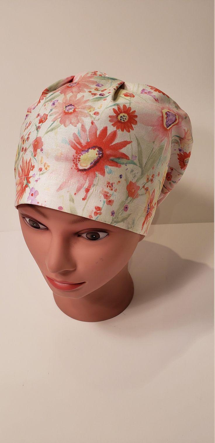Coral Wildflowers Euro scrub cap, euro scrub hat, surgical hat, nurse, chemo cap, vet, surgical cap, chef, OR caps, womens scrub cap, cotton