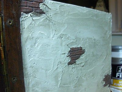 """How to get the """"plaster peeled back from brick"""" aged look - paperclay - tutorial ********************************************* WendiesMiniWorld - #dollhouse #miniature #wall"""