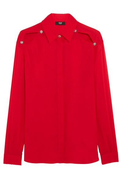 Red chiffon Partially concealed button fastenings through front 100% polyester Dry clean Made in Italy