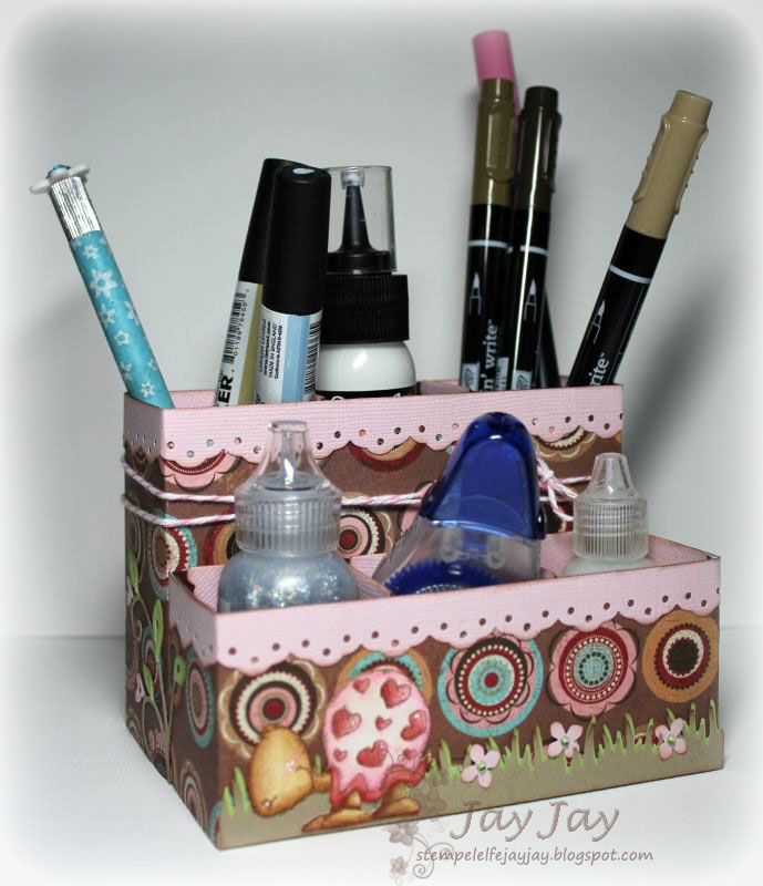 tutorial: Desk-Caddy; she used a milk carton die for each little box, but I could design a box in SCAL