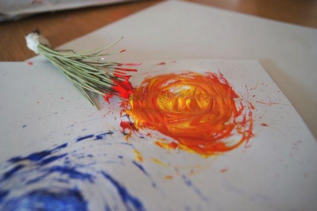 Lavoretti per bambini: dipingere con i rametti