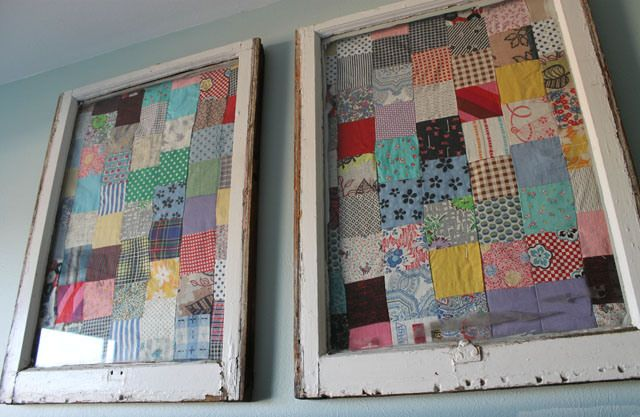 Idea to display quilt tops -- staple or glue to inside of old window frames!!