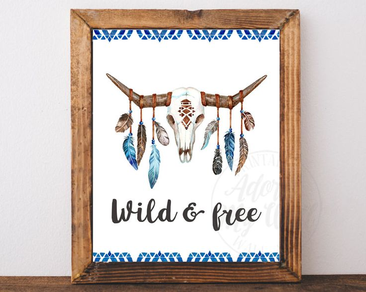 Wild and Free Print, Tribal Print, Bull Skull Wall Decor, Boho Decor, Cow Skull Wall Art,  Boho Wall Art, Printable, Animal Skull, Wall Art by AdornMyWall on Etsy