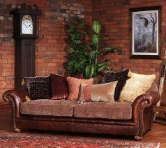 Трехместный диван из кожи и ткани Торино, Tetrad, Англия