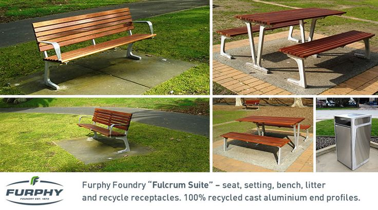 "Furphy Foundry ""Fulcuum Suite""-seat, setting, beach, litter and recycle receptacles. 100% recycled cast aluminium end profiles."