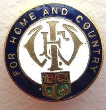 WW1 For Home and Country Brass Enamel Pin Homefront Badge FWI Women's Institute (Canada)