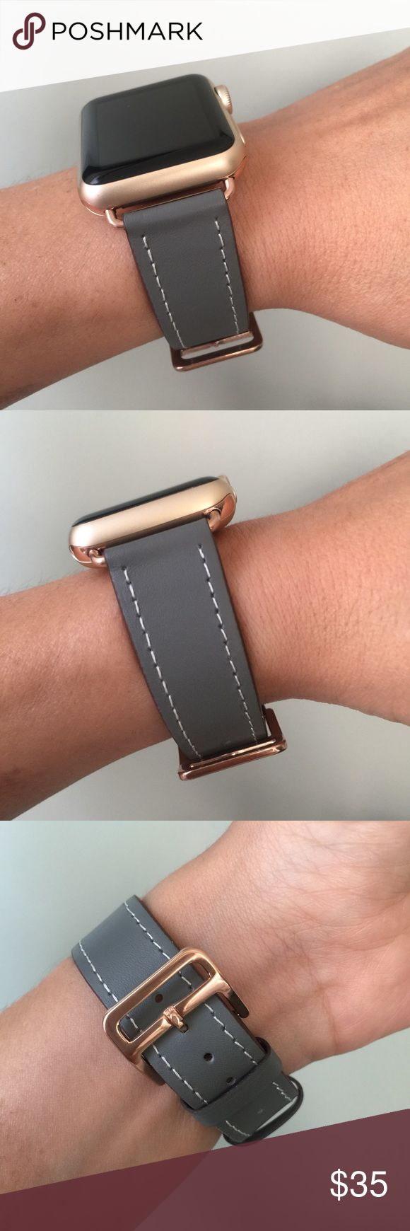 Gray Apple Watch band with ROSE GOLD hardware ⌚️ Gray Apple Watch band with ROSE GOLD hardware ⌚️  Leather band with ROSE GOLD adapters. It comes with 38mm or 42mm adapters. Please select your size when you purchase. The adapters also fit the Apple Watch Sport.   I also have other band colors, hardware colors and styles in my closet. Check them out!   I offer 15% off if you buy two or more! Please add BOTH items to the bundle for the discount to automatically apply.    Only the band is for…