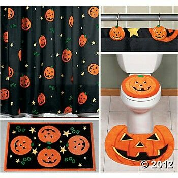 give your bathroom an instant halloween makeover with our jack o lantern shower curtain and rugs - Halloween Rugs