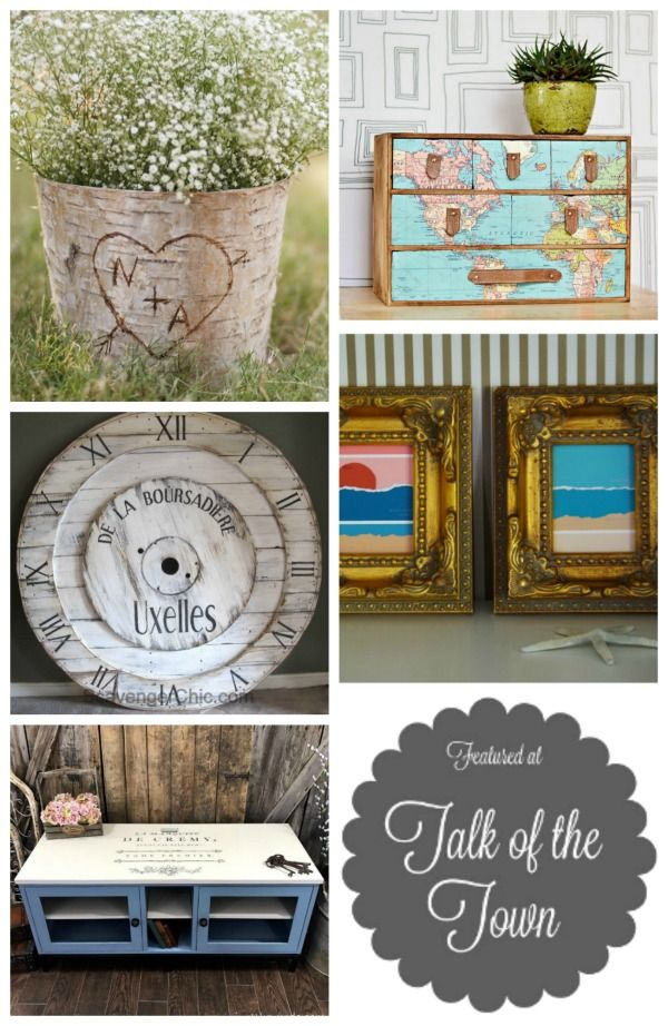 An Ikea hack, a Pottery Barn inspired wall clock, the most beautiful rustic DIY initials vase  and more at Talk of the Townlink party at Knick of Time | www.knickoftime.net