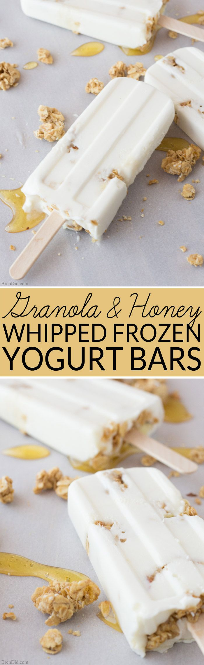 Healthy Frozen Yogurt Bars with Honey and Granola--Super simple to make + a perfect treat for hot summer days! These whipped yogurt bars have a bit of sweet honey and crunchy granola. Serve them for dessert, snacks, or even as breakfast popsicles!