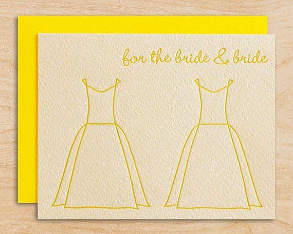 Modern wedding congratulations featuring an original wedding dress design. For lesbian wedding.  Printed in bright yellow ink on 96# mouldmade