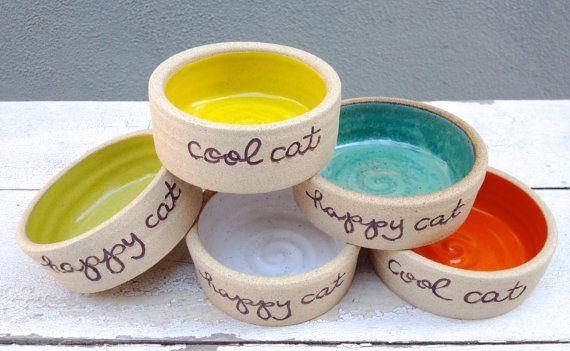 Personalized Cat Bowl, Cat Bowl, Small Dog Bowl, Pet Bowl, Cool Cat,  Personalized, Bowl With Words, Handmade Pet Bowl, Ceramic, Pottery