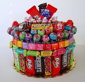 Candy cake : stuff the inside with stereofoam, use hot glue to stick the candies