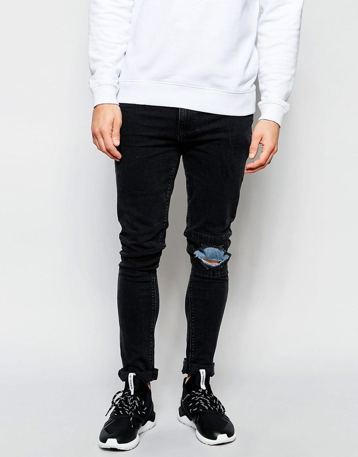 ASOS+Super+Skinny+Jeans+Rip+With+Patches+In+Washed+Black