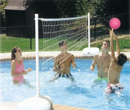 Dunnrite AquaVolly Swimming Pool Volleyball Set by Dunnrite Products. $161.99. Includes hot pink volleyball. The pool volleyball system includes two plastic bases weighing 80 lbs. each when filled with water. Manufacturerâ€s One Year Warranty. The Dunnrite Heavy Duty SlamVolly Swimming Pool Volleyball Set includes two sturdy 1.9 Inch aluminum posts. 24 foot long volleyball net. Net height is fully adjustable and net lenght can be shortened for custom fit.. Turn you...