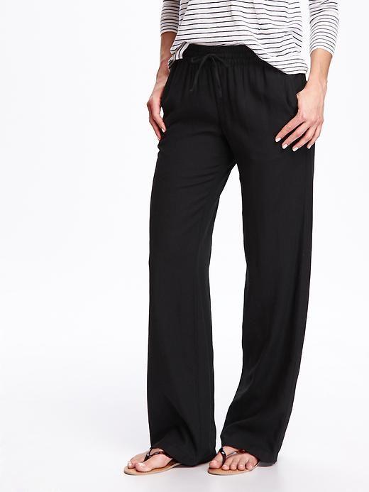 Mid-Rise Linen-Blend Wide-Leg Pants for Women Product Image