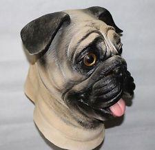 Mops Hund Maske Latex Tier Kostüm Halloween Haustier Junggesellenabschied