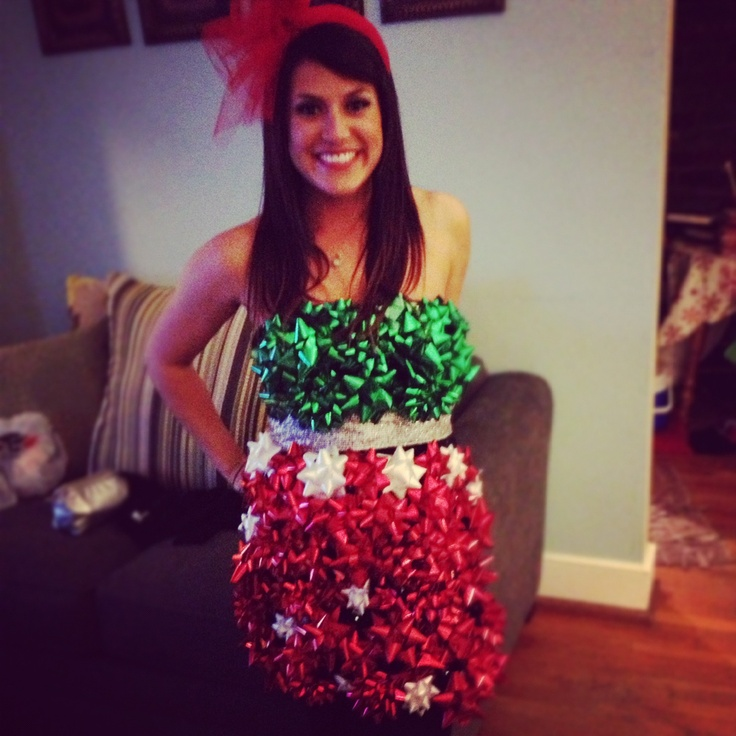 Tacky Christmas Dress! Using several bags of bows and hot glue you can achieve any look.