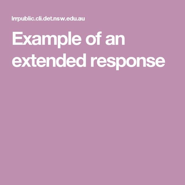 Example of an extended response
