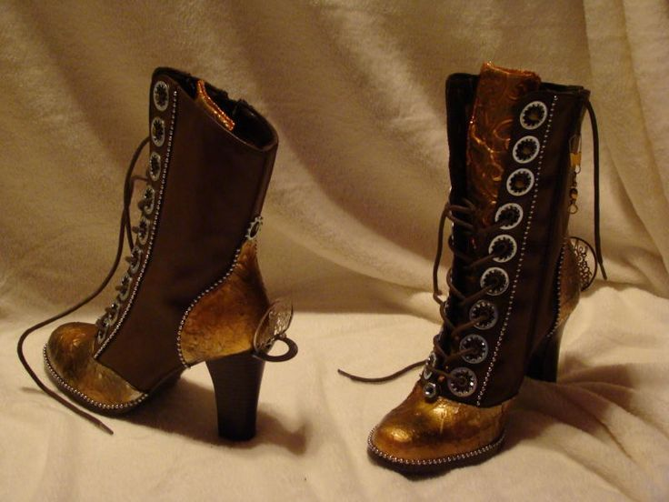 I need these...like a girlie steel-toe cowboy boot...but Victorian and steampunk and therefore awesome.