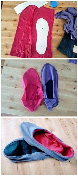 Staré tričká môžete premeniť na domáce papuče. Postup je jednoduchý a nepotrebujete ani šijací stroj. Tak smelo do toho!:)