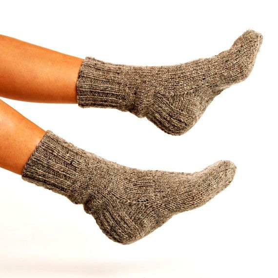 "WOMAN WOOL SOCKS ""Touring back roads"". Hand knitted from natural grey sheep wool yarn. Great for hiking on Etsy, $22.00"