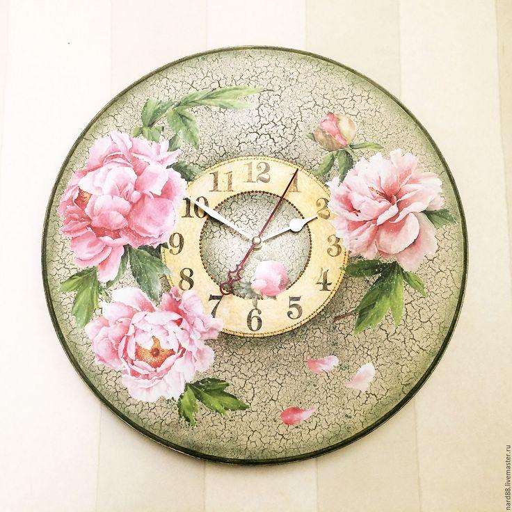 Купить часы настенные Цветы пиона - часы настенные, Часы настенные декупаж