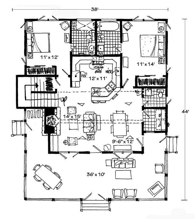 1502 best houses in good shapes images on pinterest for Small bunkhouse floor plans